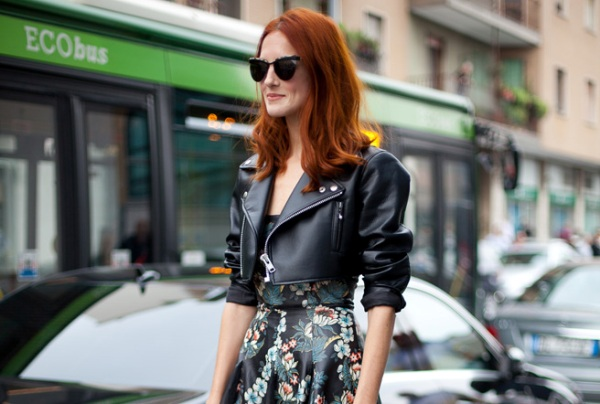 Street Style images shot during September 2012 in Milan, Italy during Milan Fashion Week Ready-To-Wear Spring 2013 fashion shows. Taylor Tomasi Hill juxtaposes sweet and biker in a perfectly balanced ensemble.