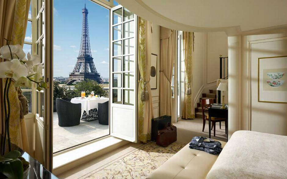 The Eiffel Duplex Terrace Suite in the Shangri-La hotel, Paris