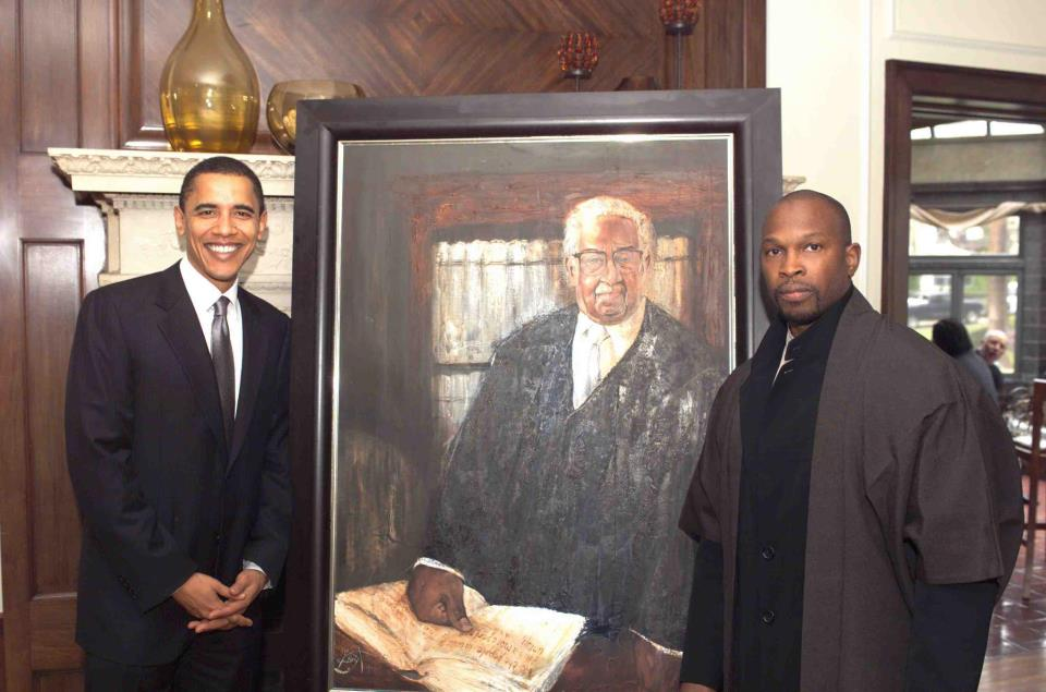 Artist Chaz Guest presenting his painting of Thurgood Marshall to US President Barack Obama at the home of Mattie and Michael Lawson