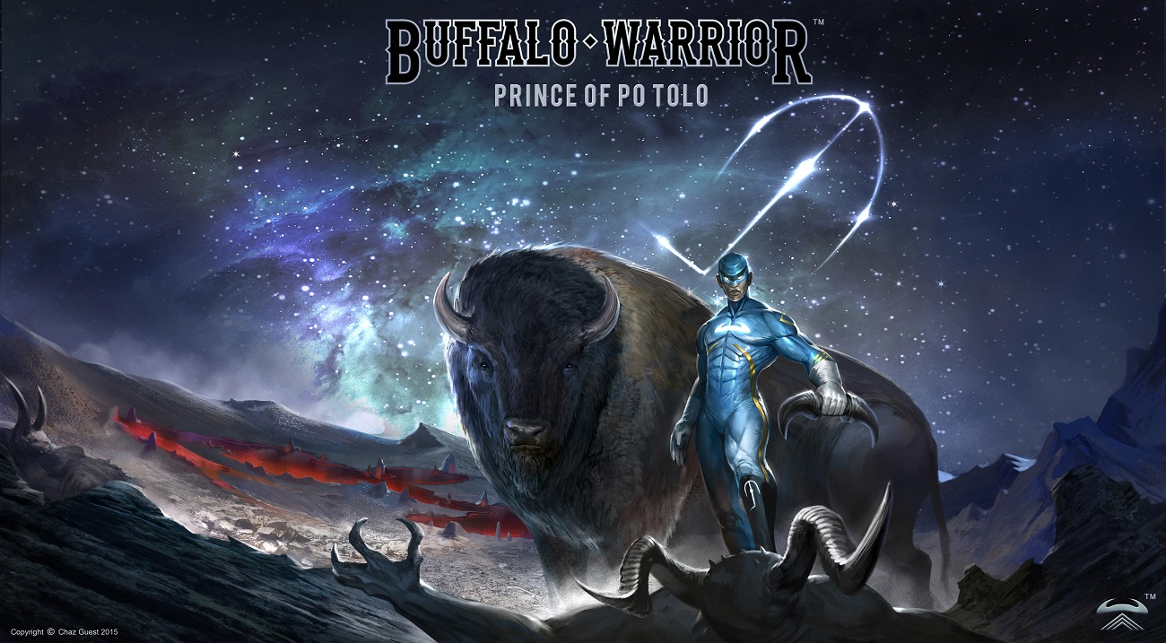 Buffalo Warrior series of paintings - Graphic novel cover by Chaz Guest